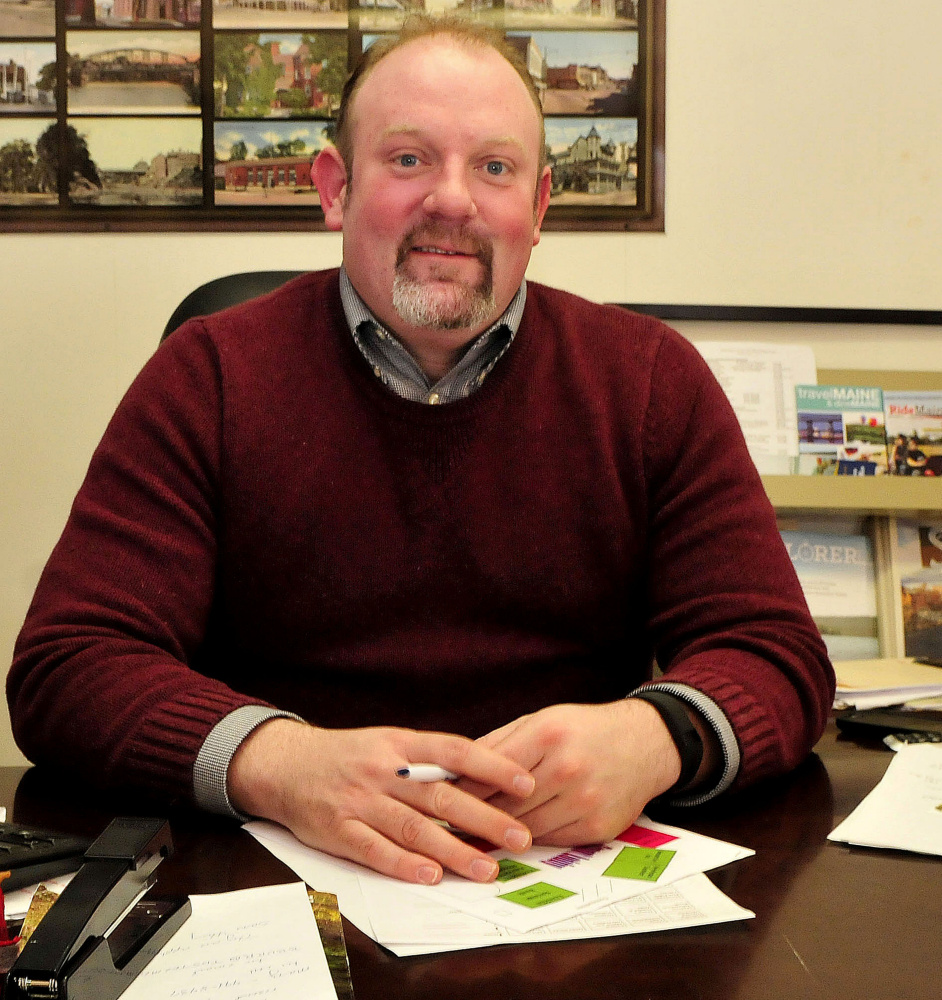 Cory King, executive director of the Skowhegan Area Chamber of Commerce, prepares for the annual Fun & Business Fair, the FAB Fair, is set for Saturday at Skowhegan Area High School. It's the fair's 39th year.