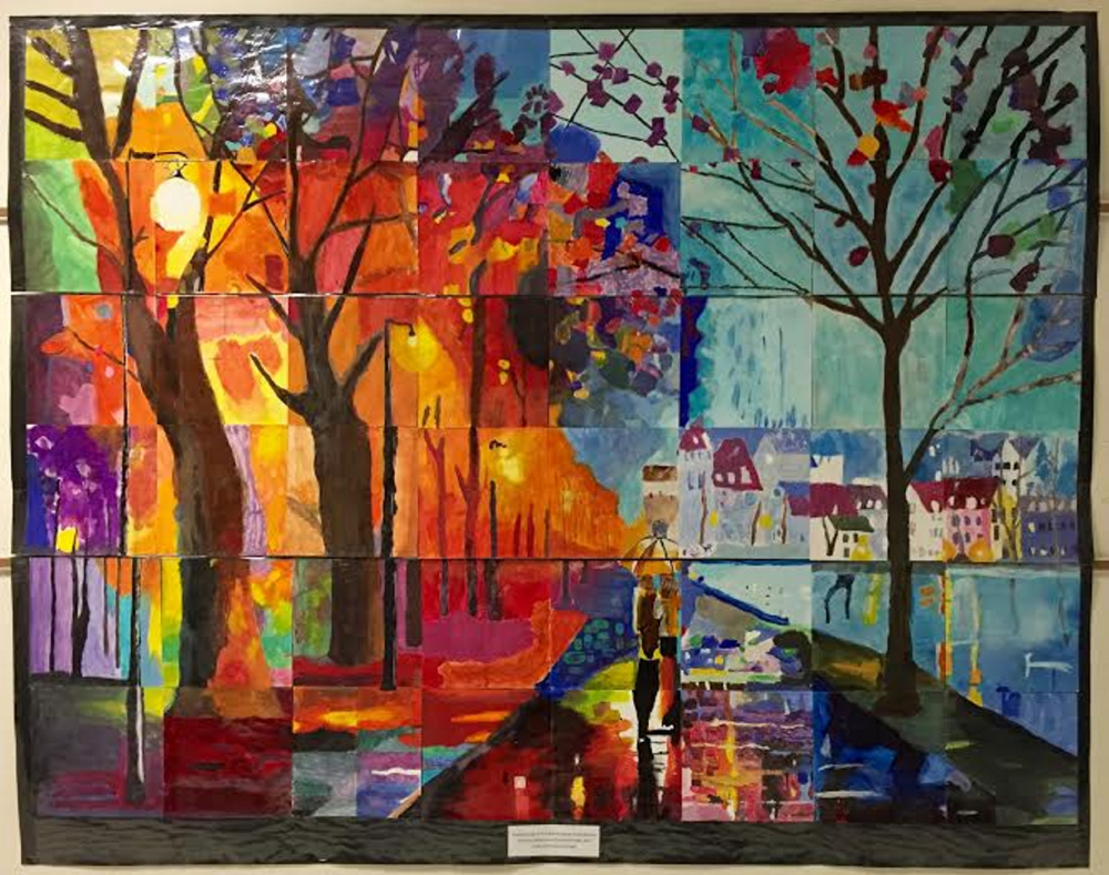 "Study of Leonid Afremov's ""The City By The Lake"" by Hall-Dale Elementary School students will be on display as part of Harlow Gallery's ""Young at Art"" K-8 exhibition on view February 20 - March 19, 2016."