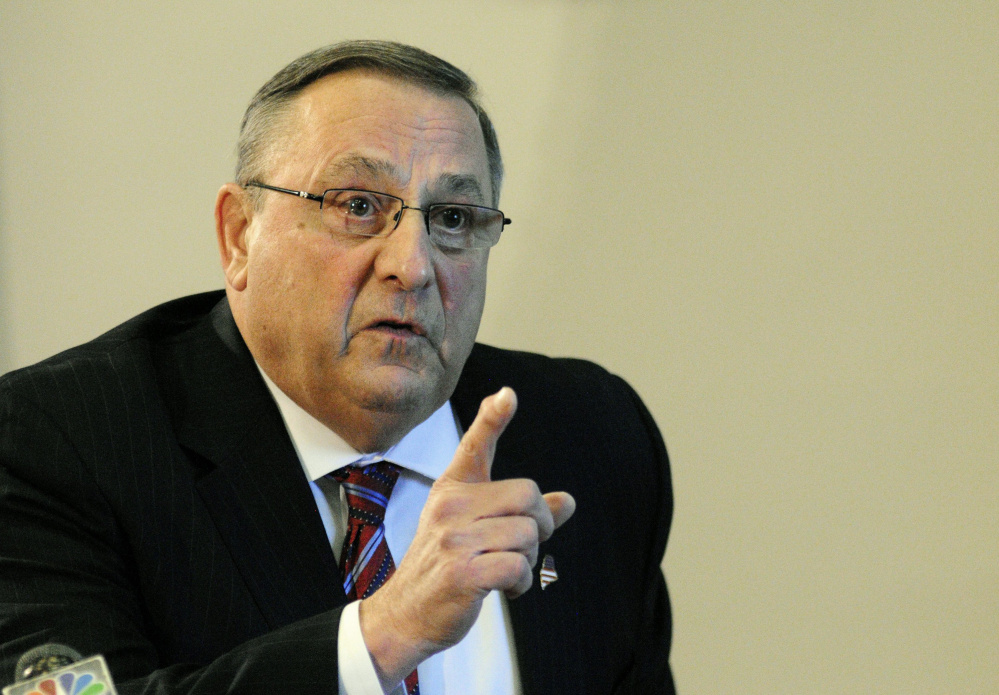 Gov. Paul LePage speaks during a news conference on Friday Jan. 8, 2016 in the State House cabinet room.
