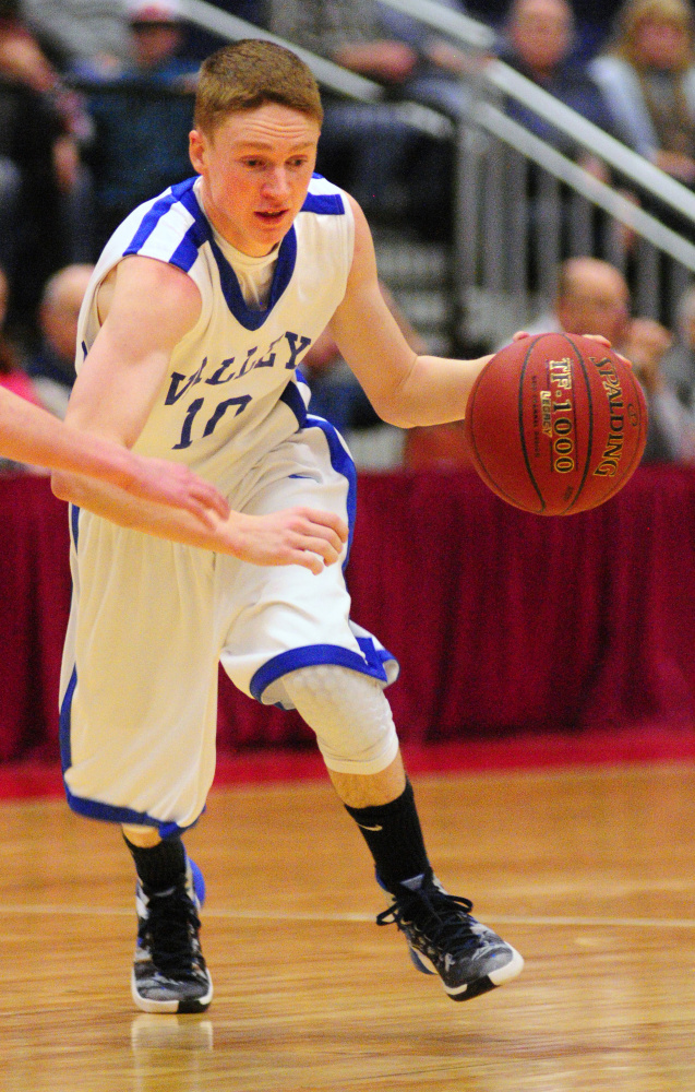 Valley's Luke Malloy drives against Greenville during a Class D South semifinal game Wednesday at the Augusta Civic Center.