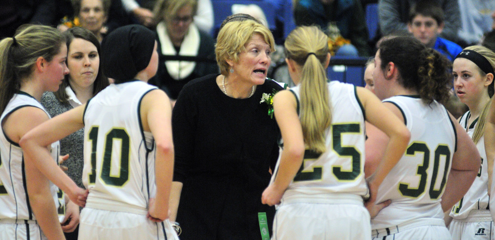 Rangeley head coach Heidi Deery talks to her team Wednesday afternoon at the Augusta Civic Center.
