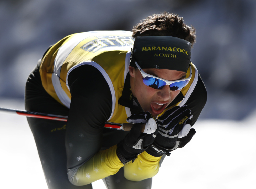 Maranacook senior Luca DeAngelis competes in the 5-kilometer Class B freestyle race Friday at Titcomb Mountain in Farmington. DeAngelis won the race in 11:49.