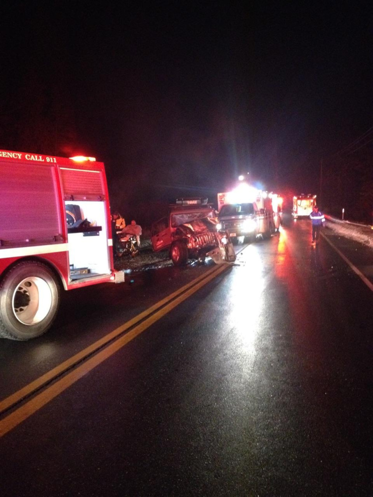 A Corinna woman was killed and eight others injured in a head-on crash on U.S. Route 2 in Pittsfield Saturday night.