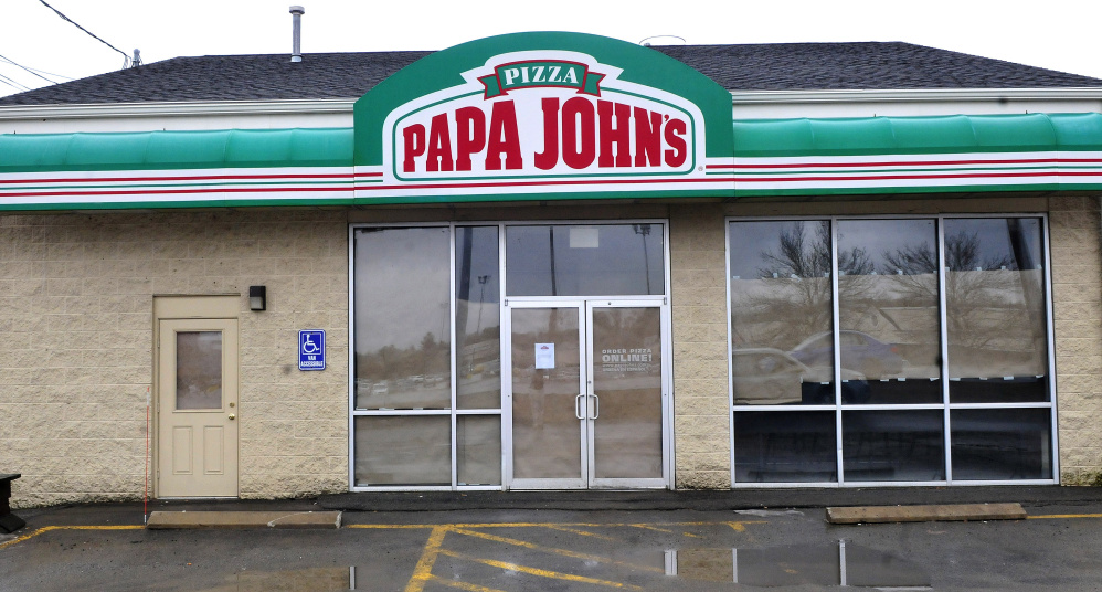 The Papa John's restaurant at the KMD Plaza in Waterville, seen Thursday, permanently closed this week.
