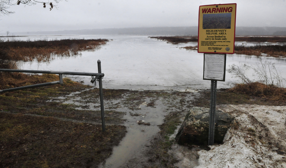 The Belgrade boat landing on Messalonskee Lake was empty of ice shacks on Thursday after some ice fishermen pulled their shacks recently. The Friends of Messalonskee group has canceled the March 6 fishing derby because of thin ice conditions.