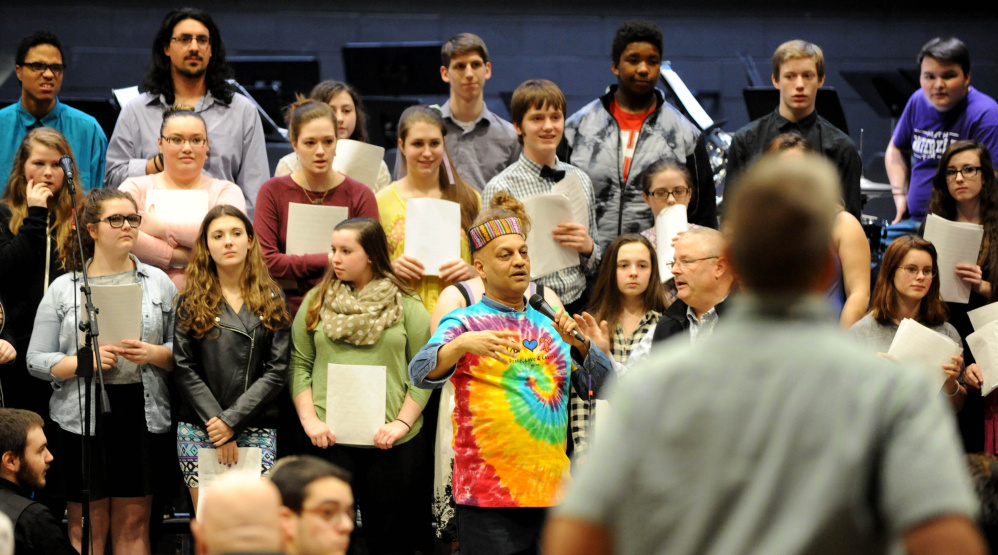 Srinivas Krishnan, master percussionist who created and produces Global Rhythms World Music, begins a concert  at Waterville Senior High School on Friday. Krishnan spent the week with Waterville students, teaching them about music of other cultures.