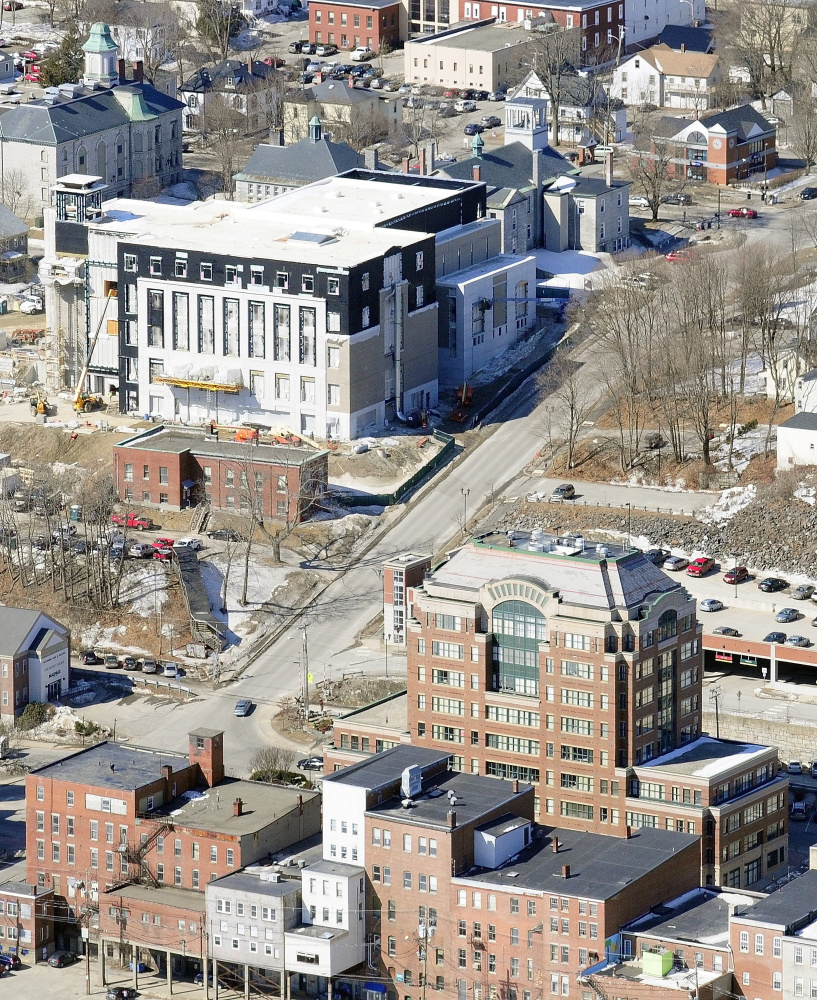 This aerial photo taken on March 27, 2014 shows the Capital Judicial Center being built, top left, uphill from downtown Augusta, bottom right.