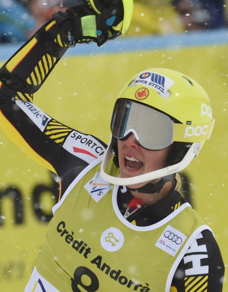 Marie-Michelle Gagnon reacts at the finish line after winning Sunday's World Cup Alpine combined event in Soldeu, Andorra.