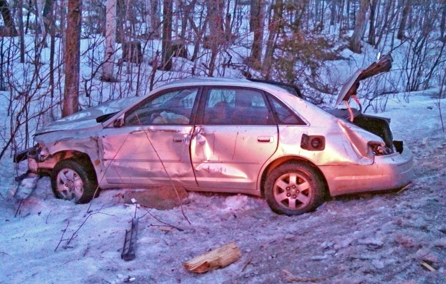 A 16-year-old crashed this car on Farmington Road around 5:54 a.m. Sunday after reportedly falling asleep at the wheel, police said.