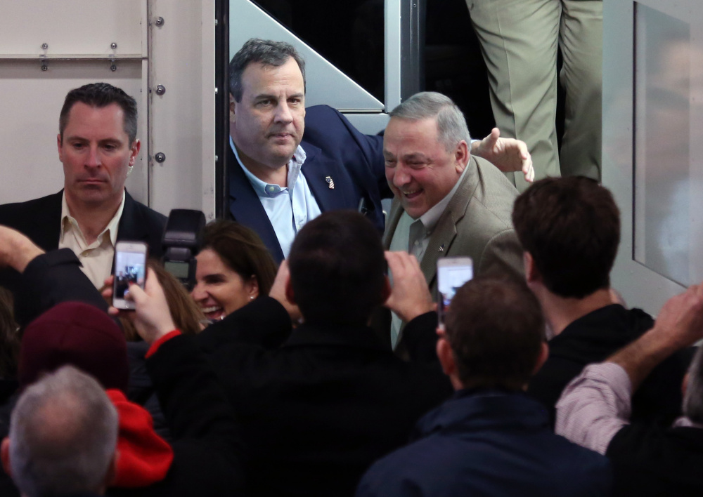 Maine governor Paul LePage, right, appears with New Jersey governor and former Republican presidential hopeful Chris Christie on the campaign trail earlier this winter.