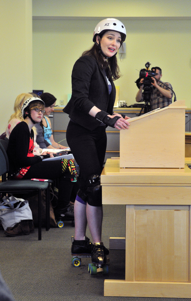 """Heather """"Hard Dash"""" Steeves testifies in favor of making it easier to expand the sport of roller derby, during a hearing Tuesday before a legislative committee in Augusta."""