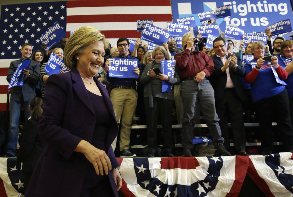 Democratic presidential candidate Hillary Clinton arrives at a campaign event Tuesday in Nashua, N.H., the next primary state in the presidential campaign.
