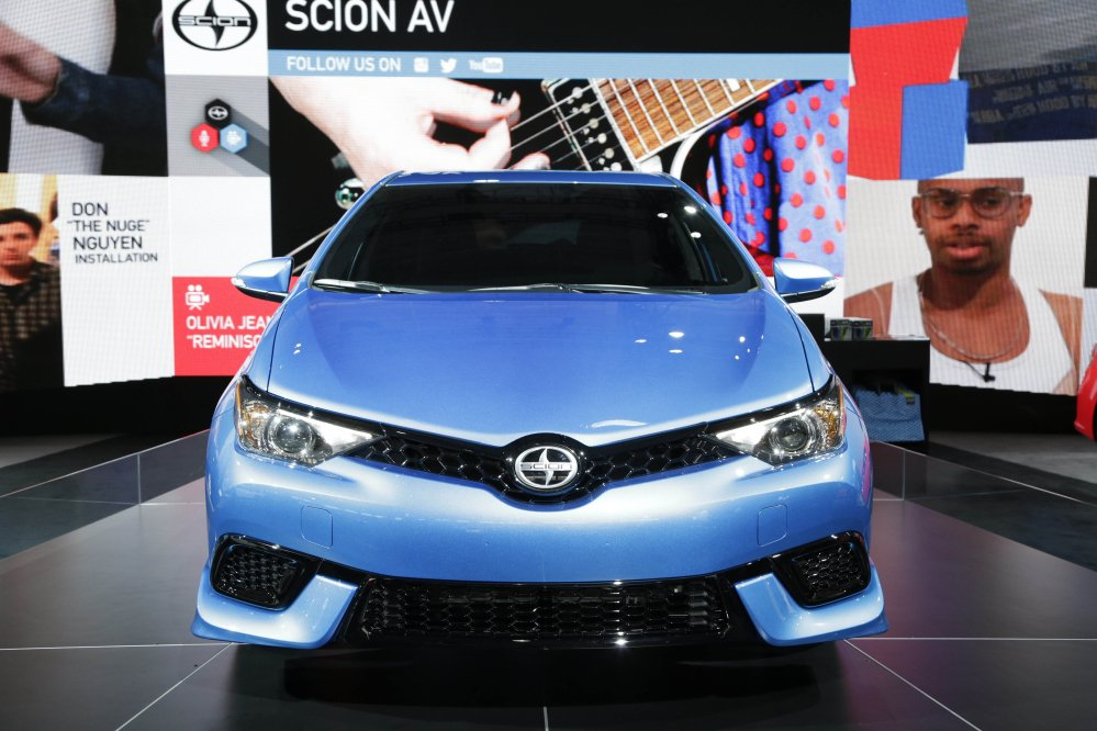 The 2016 Toyota Scion iM is displayed at the New York International Auto Show last April. Toyota announced Wednesday that it is discontinuing its Scion brand.