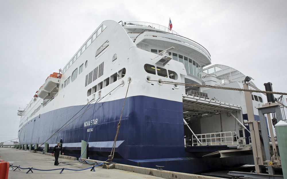 The Nova Star cruise ship sits in port a few hours before its maiden voyage in Portland in 2014.