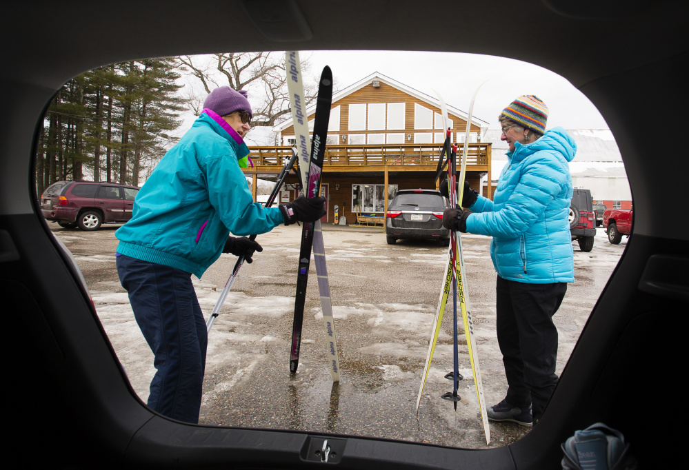 For winter agritourism in Maine, farm stays take a back seat to outdoor pursuits like cross-country skiing. Marie Wilson-Lago of Kennebunk and Terry Burrows of West Kennebunk traveled to Harris Farm in Dayton last last month to ski.