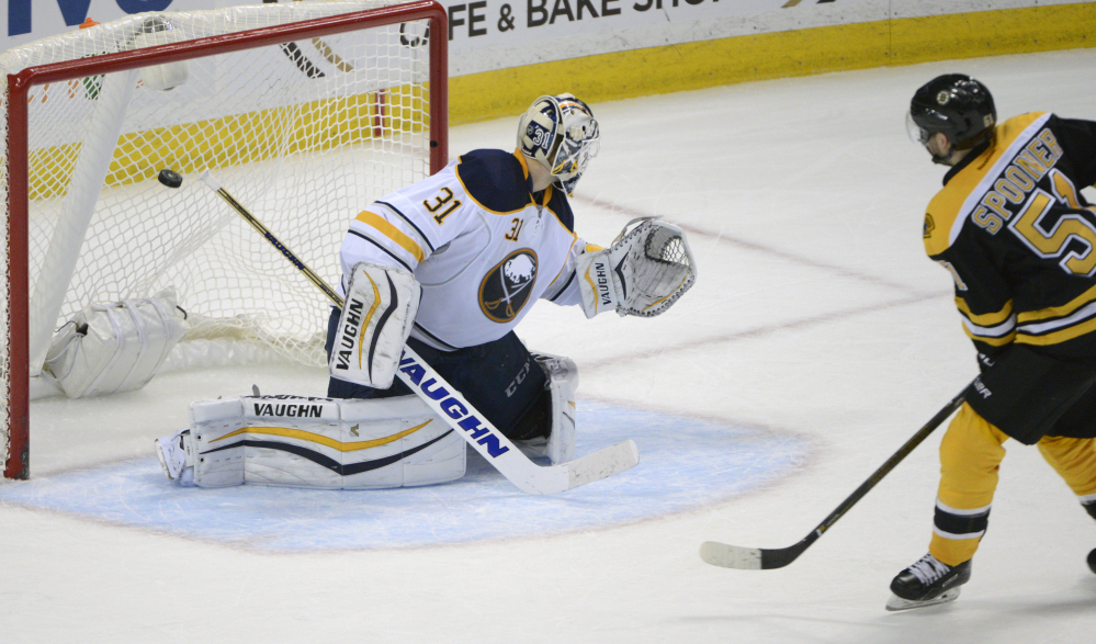 Ryan Spooner beats Sabres goaltender Chad Johnson in an overtime shootout for what proved to be the game-winning goal.