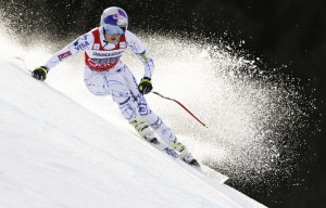 Lindsey Vonn competes during the women's World Cup downhill in Garmisch-Partenkirchen, Germany, on Saturday. Vonn won by 1.51 seconds.