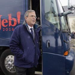 Republican presidential candidate Jeb Bush steps off his bus as he arrives at a campaign event Monday in Nashua, N.H.
