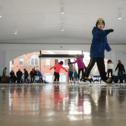 People skate at the Waterhouse Center in downtown Kennebunk on Saturday, Jan. 30, 2016. Geraldine Waterhouse, who donated $1.5 million to be used to operate and maintain the center, would frequently stop by to watch kids skate in winter and, during other times of the year, enjoy concerts and shows, accoriding to Town Manager Barry Tibbetts.
