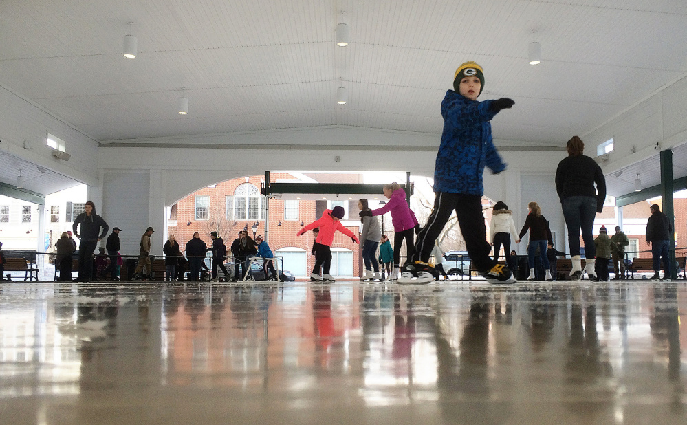 People skate at the Waterhouse Center in downtown Kennebunk on Jan. 30. Geraldine Waterhouse, who donated $1.5 million to be used to operate and maintain the center, frequently stopped by to watch kids skate in winter and, during other times of the year, enjoy concerts and shows, said Town Manager Barry Tibbetts.