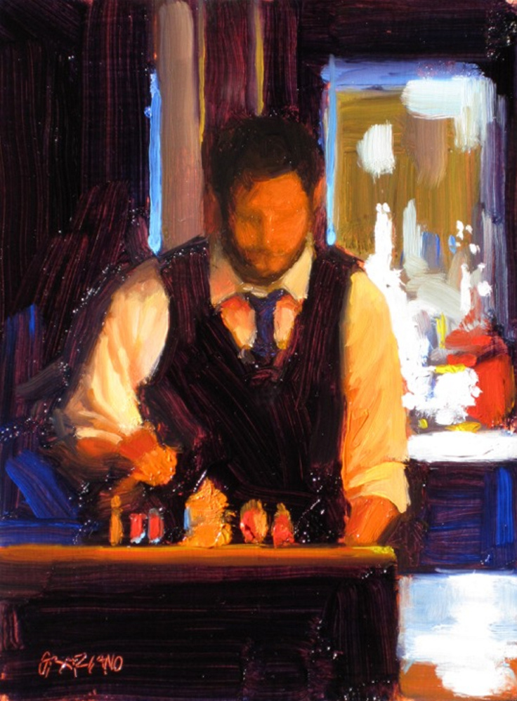"""Bartender,"" from Dan Graziano's latest work , is an oil on panel painting in a series inspired by Portland's food scene."