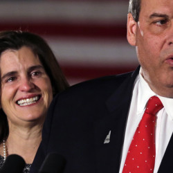 Tears well up in Mary Pat Christie's eyes as her husband, Republican presidential candidate New Jersey Gov. Chris Christie, addresses supporters during a primary night rally in Nashua, N.H., on Tuesday, where he finished behind most rivals.