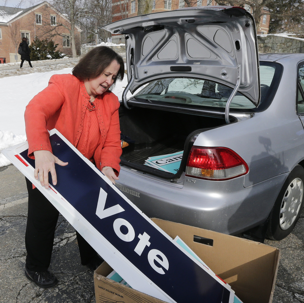 """Therese Willkomm, a University of New Hampshire professor, says items made from discarded campaign signs can be """"solutions"""" for the disabled."""