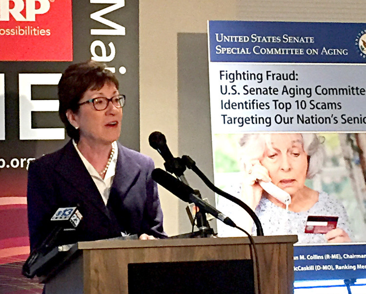 U.S. Sen. Susan Collins speaks Wednesday at an event in Portland about efforts to prevent scammers from targeting elderly residents. Collins, chair of the Senate Special Committee on Aging, said that she has seen a high level of sophistication among scammers, and that Maine, because of its aging population, is particularly vulnerable.