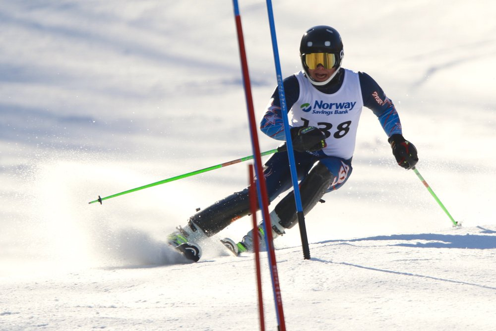 Edward Little High sophomore Maxx Bell won the slalom Thursday on the final day of the Class A alpine skiing championships at Mount Abram in Greenwood. (Carl D. Walsh/Staff Photographer)