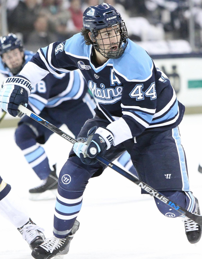 Conor Riley and the other Maine seniors are likely playing their final games at Alfond Arena this weekend in a series with Merrimack. Maine must advance from 11th to eighth place in Hockey East to have a home game in the postseason.