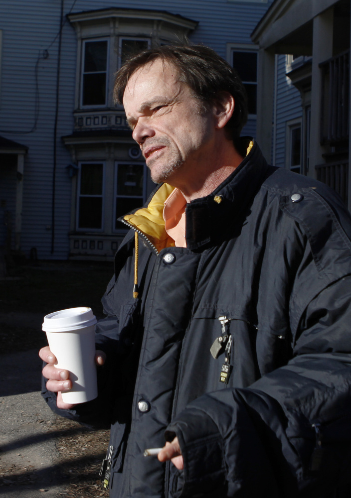 Roger Hunnewell, a resident of 63 Grant St., speaks Monday about his pending eviction. Joel Page/Staff Photographer