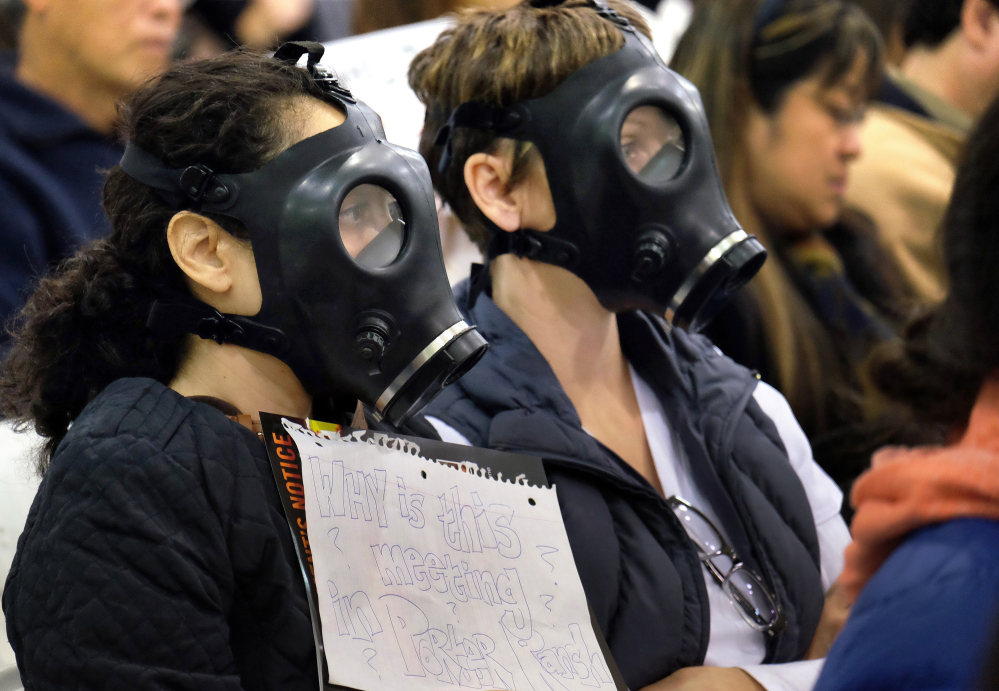 In January,  protesters wearing gas masks attended a hearing on the gas leak at the southern California Gas Company's Aliso Canyon Storage Facility.