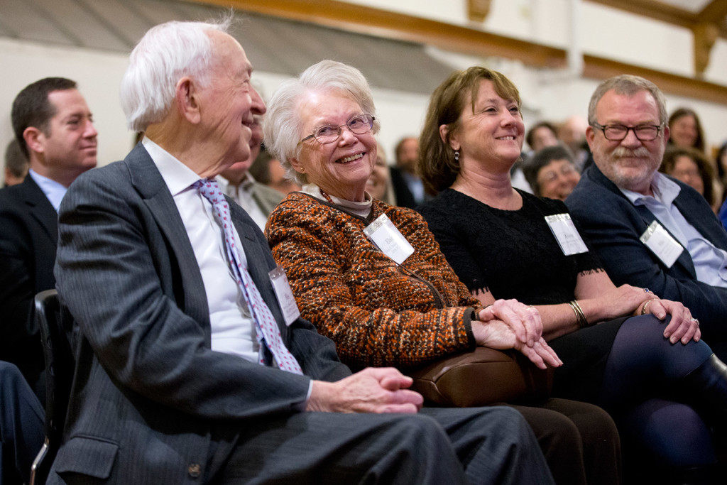 The Bonney family was one of seven families making gifts totaling $19 million to Bates College, it was announced Monday. From left are Weston Bonney, his wife, Elaine Bonney, their daughter-in-law, Alison Grott Bonney and their son, Michael Bonney. Starting with Elaine's father, a member of the class of 1927, and continuing to Michael and Alison's children, four generations of their family have attended Bates.  The $19 million includes a commitment from Michael Bonney '80, chair of the Bates College Board of Trustees, and his wife, Alison Grott Bonney '80, of $10 million — the largest single gift in the history of Bates.