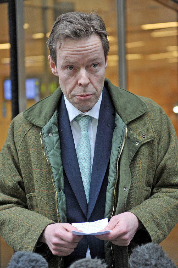 George Bingham, the only son of the notorious Lord Lucan, speaks to the media outside High Court in London, where he was granted a death certificate  in his father's case. Wednesday. PA via AP