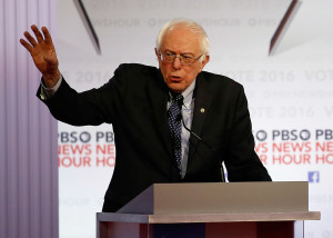 """Bernie Sanders said during the debate that """"At the end of my first term, we will not have more people in jail than any other country."""" The Associated Press"""