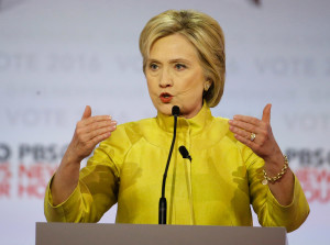 """Hillary Clinton said that to fight racial inequality, """"We're going to emphasize education, jobs and housing."""" The Associated Press"""