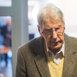 Former SS guard Reinhold Hanning arrives for his trial in Detmold, Germany, Thursday. The Associated Press