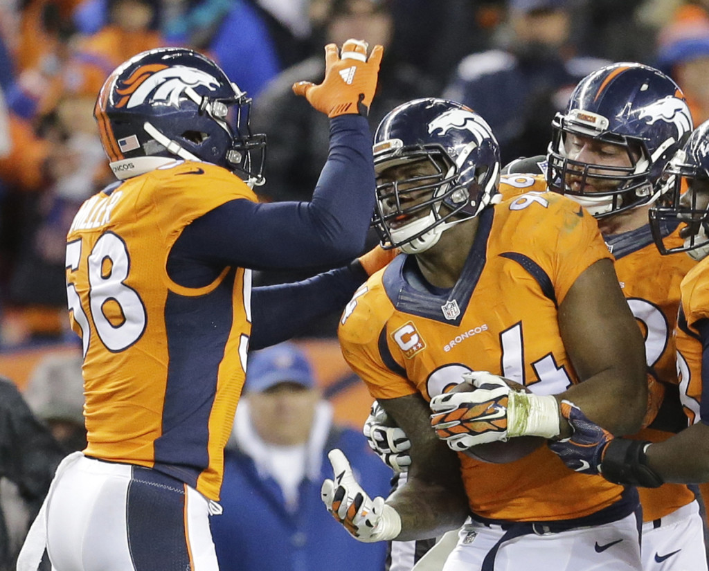 Denver Broncos outside linebacker DeMarcus Ware, right, celebrates a fumble recovery with outside linebacker Von Miller, left, during the second half. The Associated Press