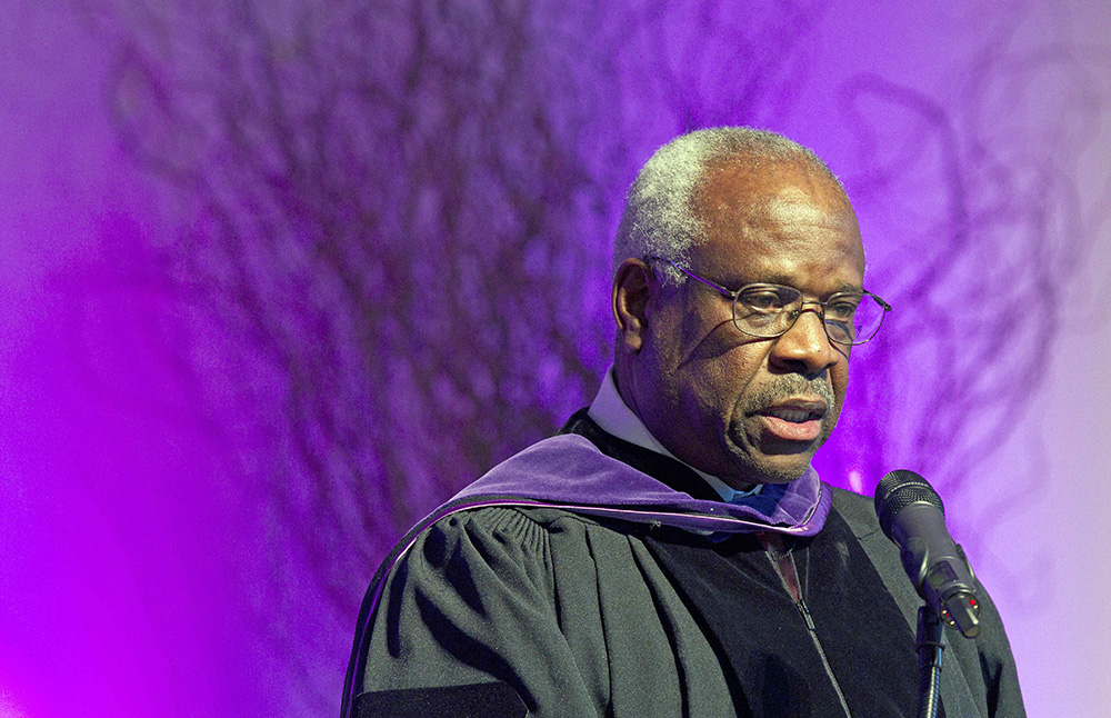 Supreme Court Justice Clarence Thomas speaks at College of the Holy Cross in Worcester, Mass., in this Jan. 26, 2012, photo. The Associated Press