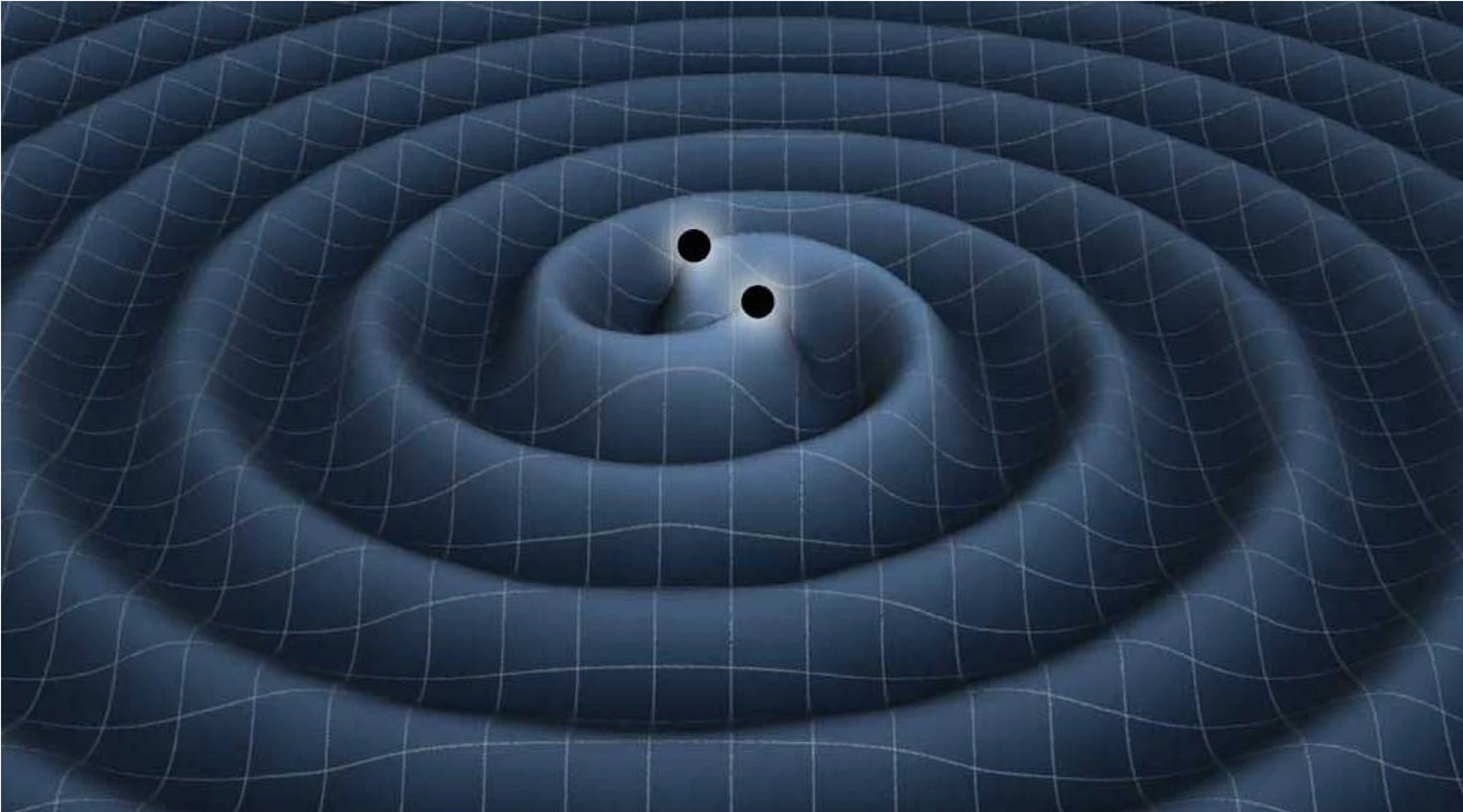 In this artist's conception, a binary black hole produces gravitational waves that travel outwards and carry energy away from the system.
