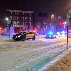 Portland police are at the scene of a car crash at Longfellow Square that is believed to be related to a double stabbing Tuesday morning. WCSH photo