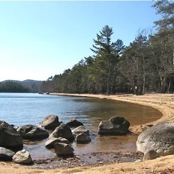 The beach at Sebago Lake State Park. Image from Maine Department of Agriculture, Conservation and Forestry website