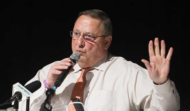 Gov. Paul LePage his town hall meeting at Morse High School in Bath on Wednesday.