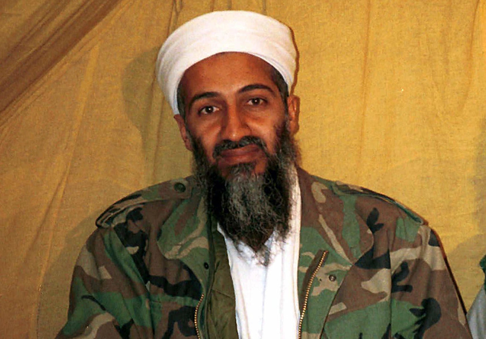 This undated file photo shows al-Qaida leader Osama bin Laden in Afghanistan. U.S. intelligence agencies have released more than 100 documents and other materials that were seized in the May 2011 raid that killed bin Laden.
