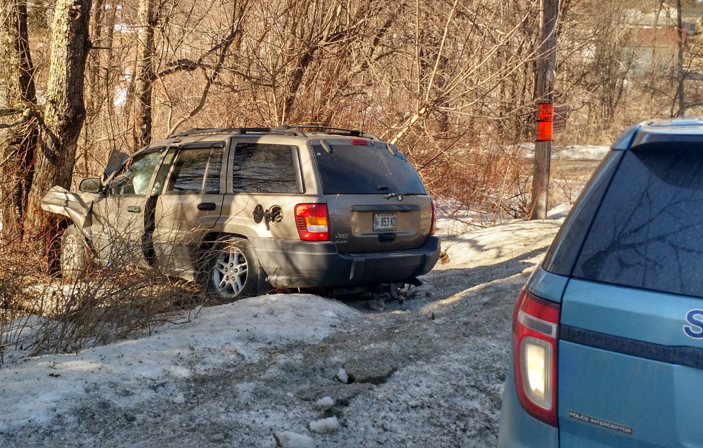 Contributed photo An escapee from a Franklin County sheriff's tranport van allegedly stole an SUV, crashing it before he was caught in Chesterville a short time after his escape in Farmington.