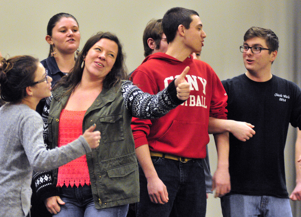 The Cony Madrigals sing during a rehearsal for the 125th Chizzle Wizzle last week at Cony High School in Augusta.