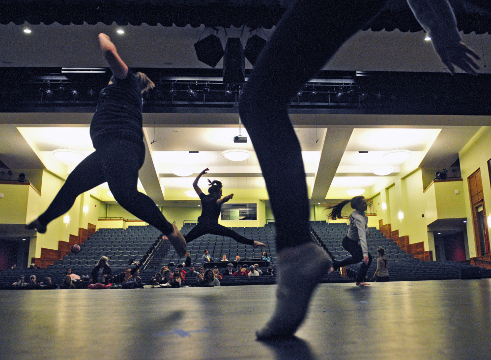 A dance group performs during a rehearsal for the 125th Chizzle Wizzle last week at Cony High School in Augusta.
