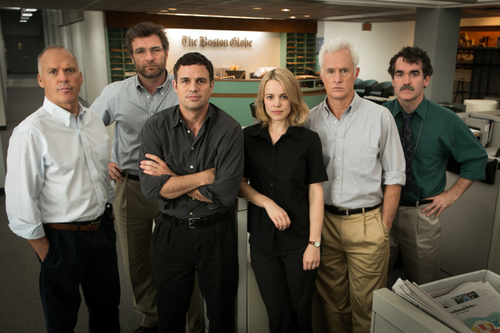 "Michael Keaton, from left, as Walter Robinson, Liev Schreiber as Marty Baron, Mark Ruffalo as Michael Rezendes, Rachel McAdams, as Sacha Pfeiffer, John Slattery as Ben Bradlee Jr., and Brian d'Arcy James as Matt Carroll, in a scene from the film, ""Spotlight."" The film, which one the Best Picture Oscar, was made after Waterville native David Mizner pitched the idea after he did a case study on the Boston Globe investigation while at Columbia University."