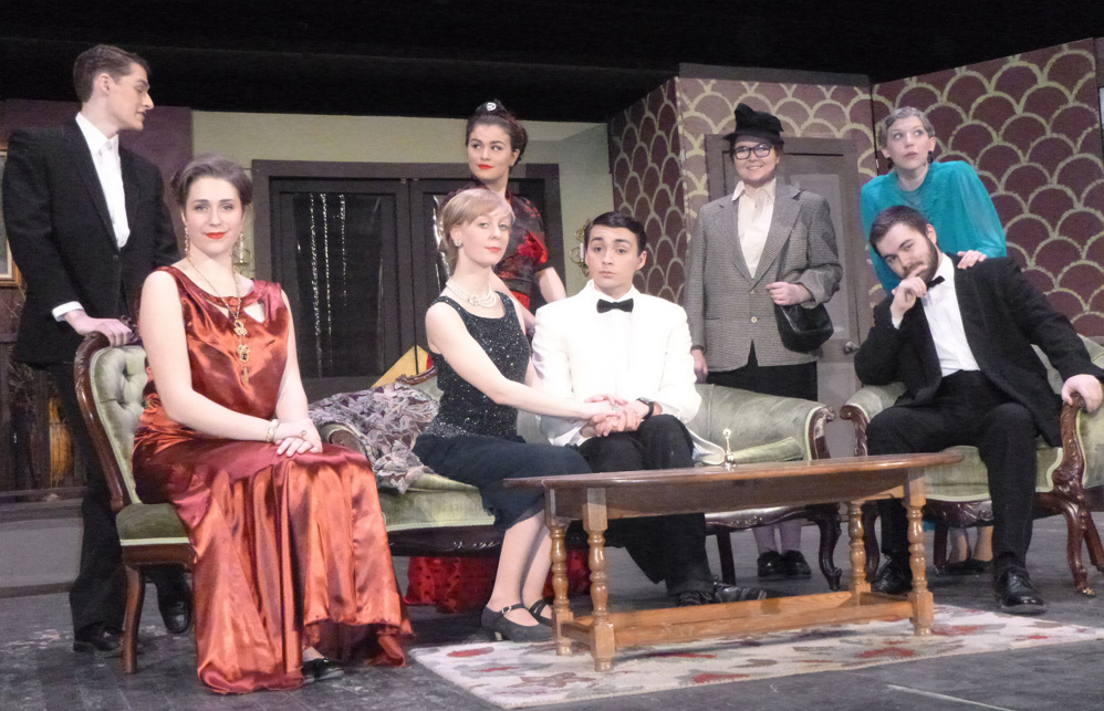 """The cast of """"The Games Afoot,"""" from left, are Ty Lecrone, Julia Badaraco, Isabella Labbe, Callie Rogers, Allen Baez, Emma Jones, Jonathan Thompson and Hannah Comfort."""