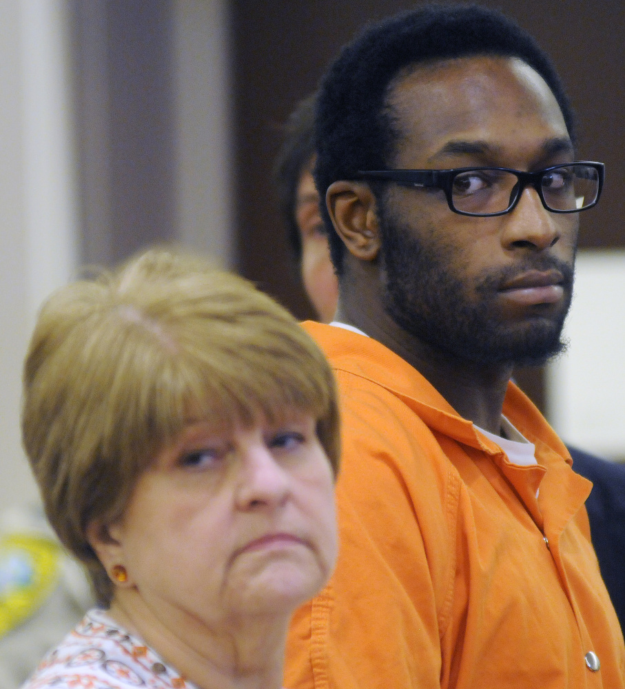 David W. Marble Jr. pleaded not guilty to two charges of murder Tuesday when he appeared at the Capital Judicial Center in connection with the Christmas Day slaying of two people in Manchester.